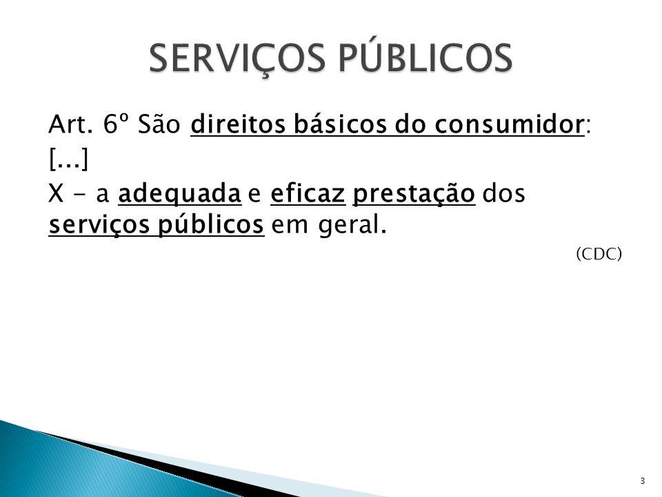 SERVIÇOS PÚBLICOS Art. 6º São direitos básicos do consumidor: [...]